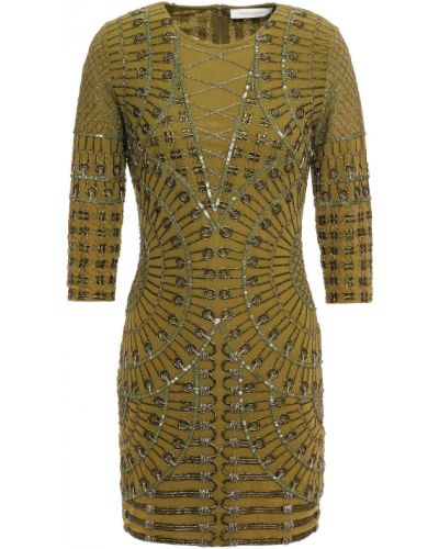 Зеленое платье с бисером Pierre Balmain