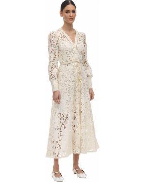 Платье с поясом с кружевными рукавами макси Zimmermann