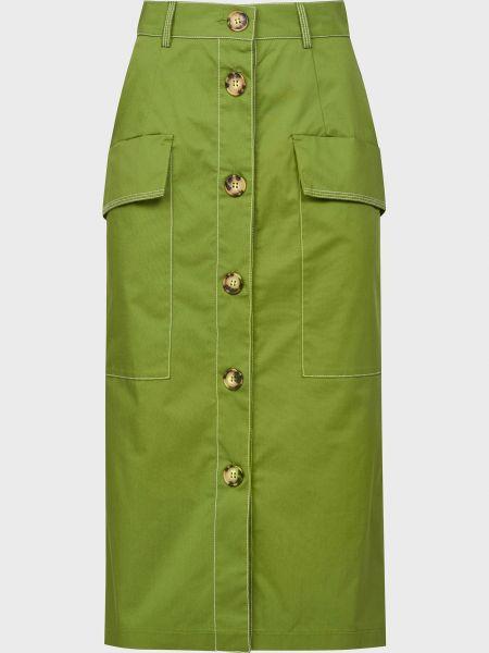 Хлопковая зеленая юбка на пуговицах Sfizio