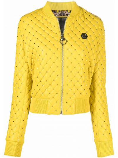 Кожаная куртка на молнии - желтая Philipp Plein
