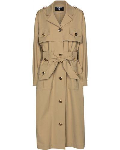 Бежевое пальто классическое милитари Balmain