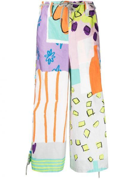 Fioletowe spodnie bawełniane z paskiem Issey Miyake