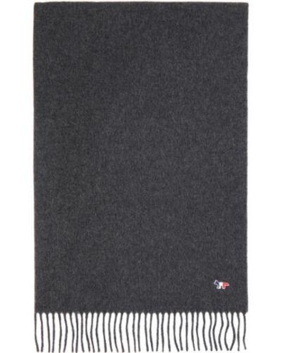 Ciemno szary wełniany szalik prostokątny z haftem Maison Kitsune
