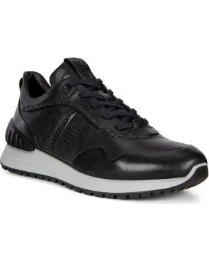 Кожаные черные кроссовки с подкладкой на шнурках Ecco