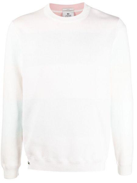 Biała bluza długa z haftem bawełniana Lacoste Live