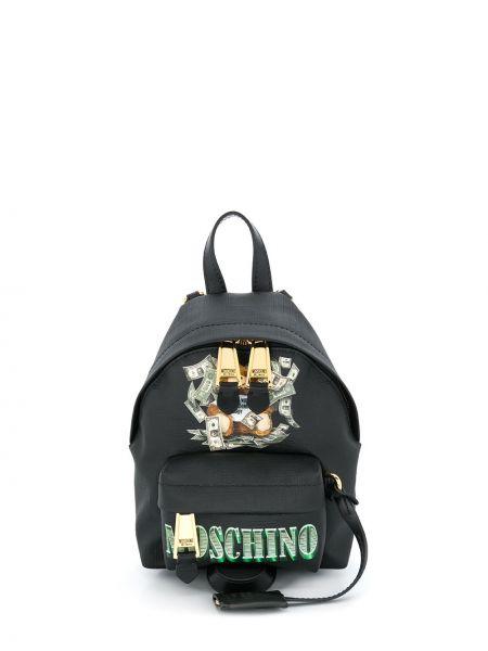Skórzany plecak włoski czarny Moschino