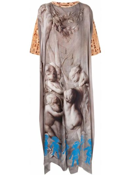 Хлопковое прямое платье мини с вырезом Vivienne Westwood