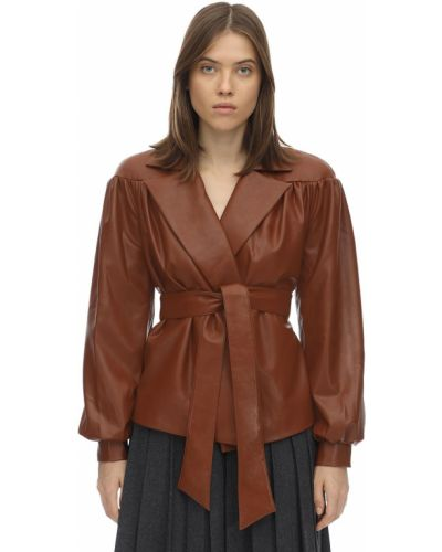 Пиджак кожаный на пуговицах Lesyanebo