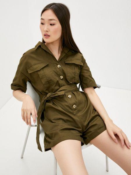 Комбинезон с шортами хаки зеленый By Swan