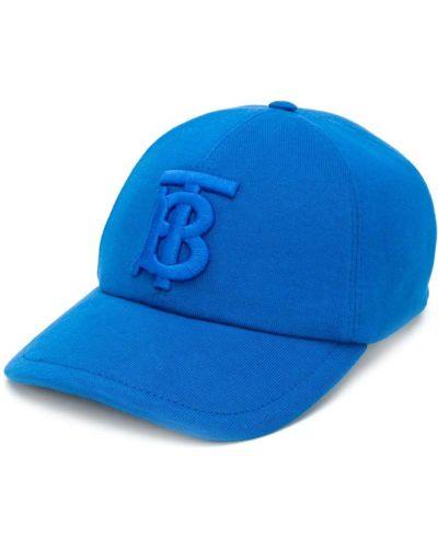 Niebieska czapka z haftem bawełniana Burberry