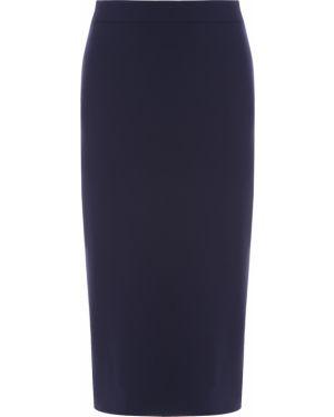 Классическая юбка карандаш с разрезом в рубчик на молнии Hugo Boss
