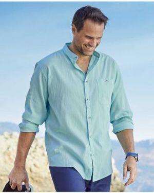 Бирюзовая рубашка с карманами с манжетами с воротником Atlas For Men