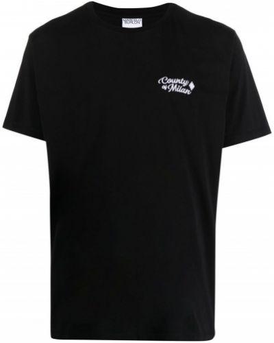 Czarny t-shirt bawełniany z printem Marcelo Burlon County Of Milan