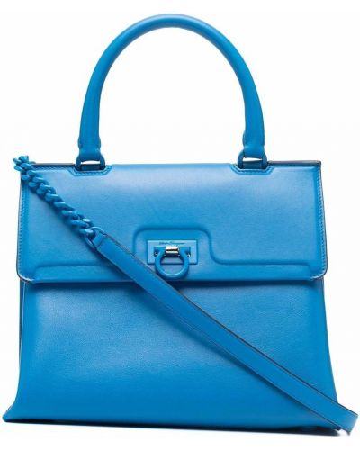 Синий кожаный топ Salvatore Ferragamo