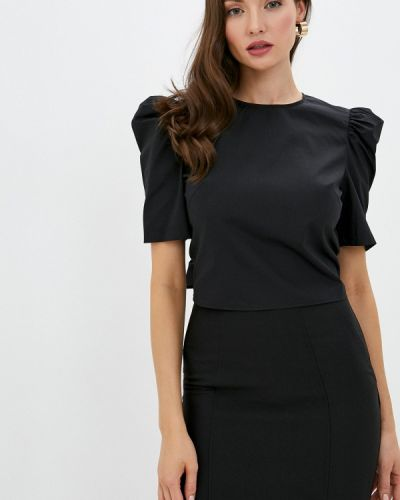 С рукавами черная блузка с коротким рукавом Love Republic