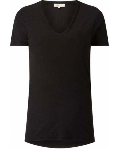Czarny t-shirt bawełniany z dekoltem w serek Levete Room