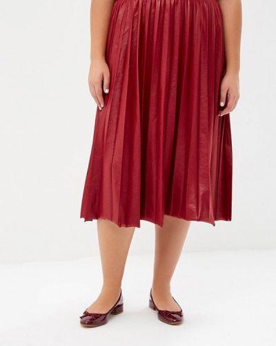 Плиссированная юбка красный бордовый Lost Ink Plus