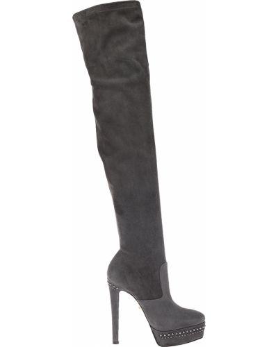 Ботфорты на каблуке замшевые кожаные Le Silla