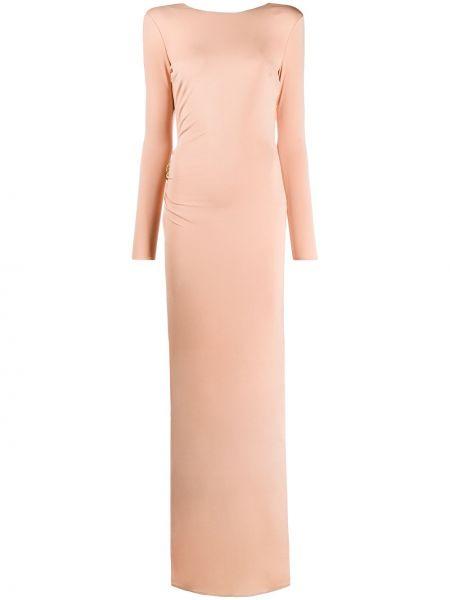 Розовое приталенное облегающее платье с открытой спиной с оборками Elisabetta Franchi