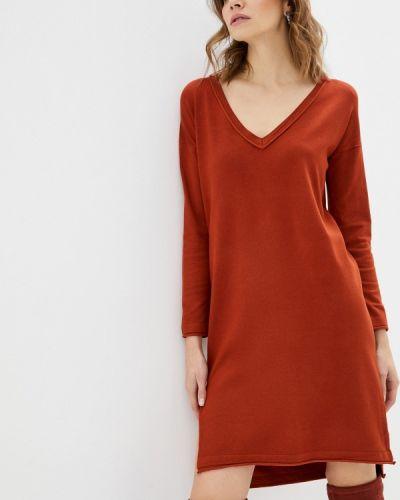 Оранжевое трикотажное вязаное платье Sh