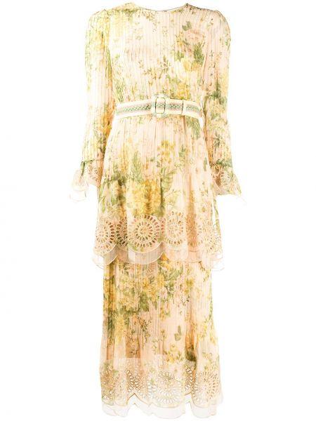 Миди шелковое персиковое платье с вышивкой Zimmermann