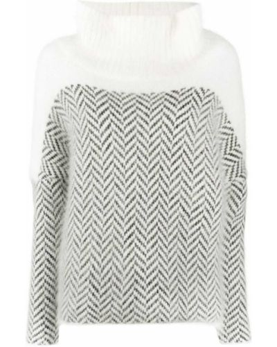 Белый шерстяной вязаный длинный свитер Fabiana Filippi