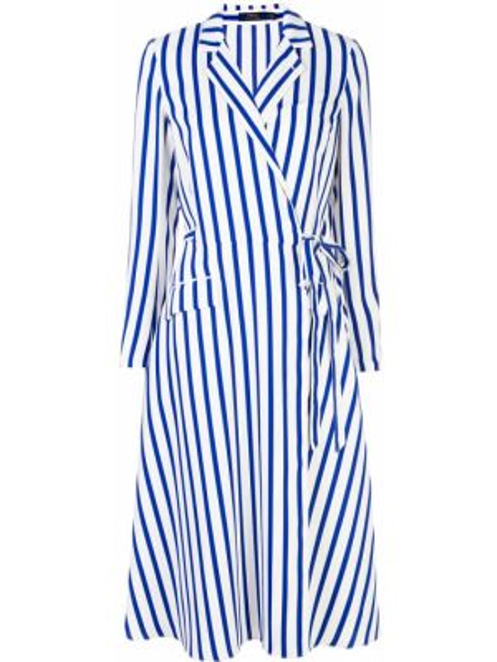 Sukienka długa kopertowa w paski z długimi rękawami Polo Ralph Lauren