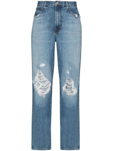 Прямые хлопковые синие с завышенной талией джинсы бойфренды J Brand