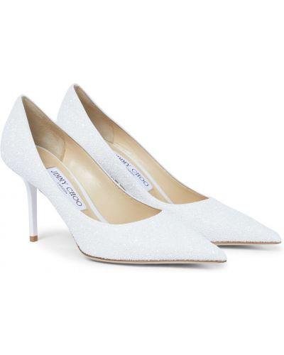 Кожаные белые туфли-лодочки с глиттером Jimmy Choo