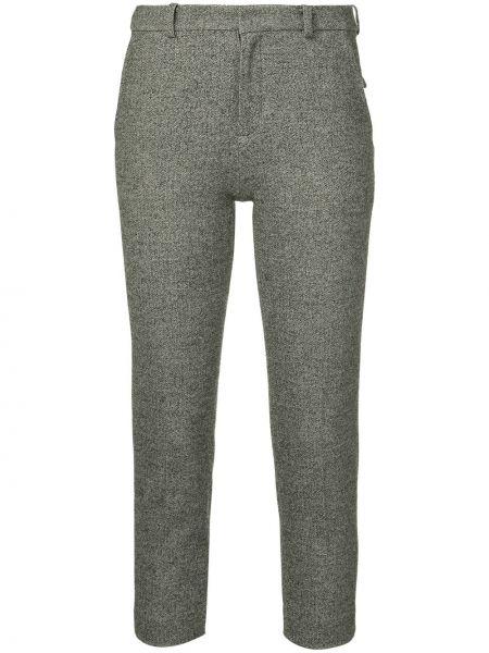 Серые укороченные брюки с поясом из вискозы с потайной застежкой Loveless