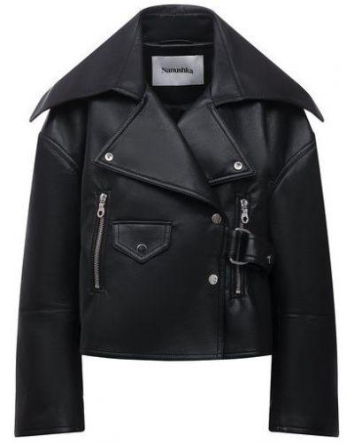 Черная кожаная куртка Nanushka