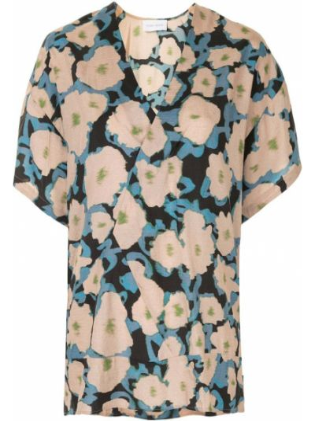 Коричневая шелковая блузка с V-образным вырезом с запахом Christian Wijnants
