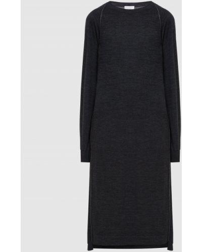 Шерстяное серое платье миди Brunello Cucinelli