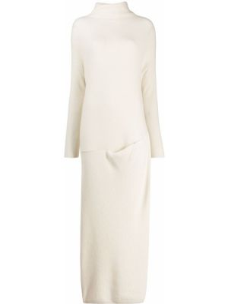 Кашемировое с рукавами платье макси с высоким воротником Loro Piana