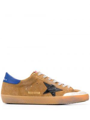 Niebieski ażurowy skórzany sneakersy z łatami Golden Goose