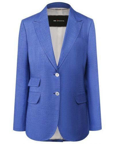 Шелковый синий однобортный пиджак с подкладкой Kiton