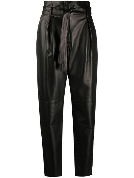 Кожаные черные брюки с карманами с высокой посадкой Drome