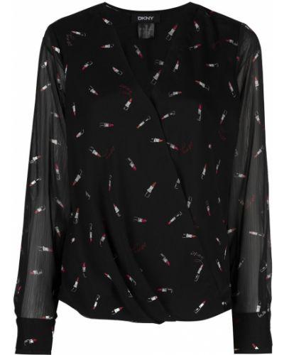 Z rękawami czarny bluzka z dekoltem w szpic Dkny