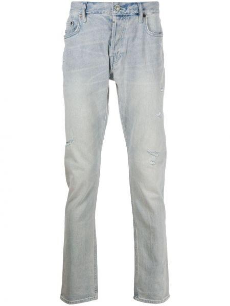 Bawełna prosto niebieski jeansy o prostym kroju z paskiem Allsaints