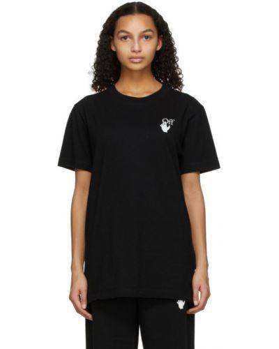 Bawełna z rękawami czarny koszula z kołnierzem Off-white