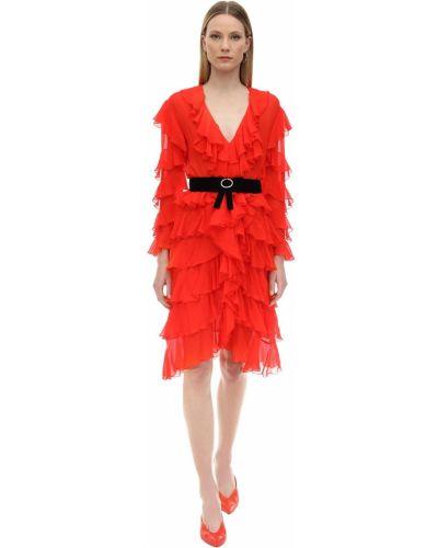 Sukienka midi z długimi rękawami z paskiem z jedwabiu Marianna Senchina