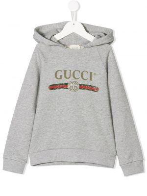 Толстовка с капюшоном серая Gucci Kids