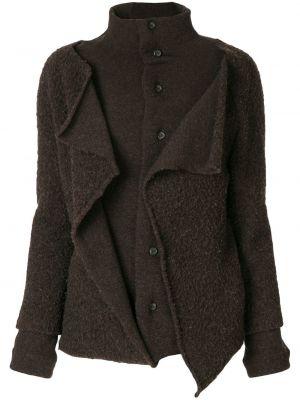 Коричневое шерстяное пальто с капюшоном Yohji Yamamoto Pre-owned