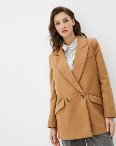 Бежевое пальто двубортное W.sharvel
