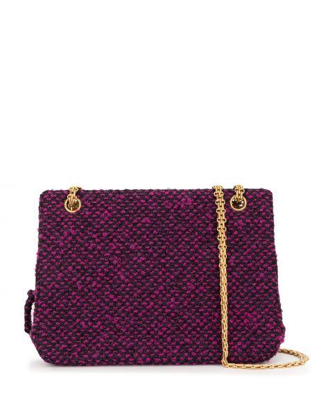 Золотистая розовая сумка на цепочке твидовая Chanel Pre-owned