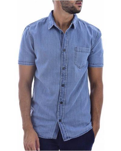 Niebieska koszula jeansowa krótki rękaw bawełniana Guess