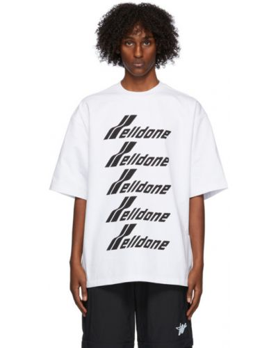Белая рубашка с коротким рукавом с воротником с заплатками с короткими рукавами We11done