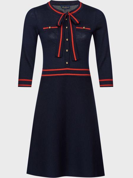 Шерстяное синее платье на пуговицах Luisa Spagnoli