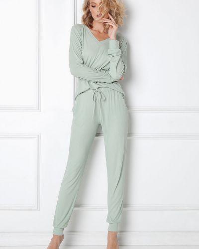 Zielona piżama z długimi rękawami z wiskozy Aruelle