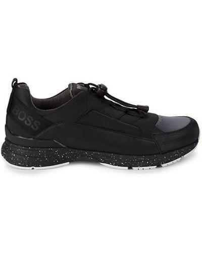Текстильные черные кроссовки на шнурках Boss Hugo Boss